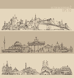 City set new york berlin barcelon vintage vector