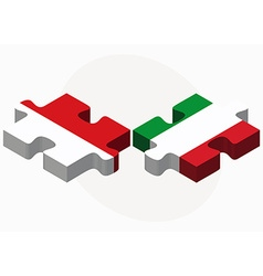 Indonesia and italy flags in puzzle vector