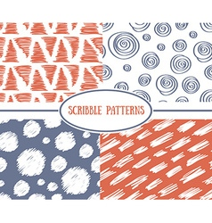 Set of stylish scrible seamless patterns vector image