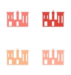 Assembly realistic sticker design on paper palaces vector