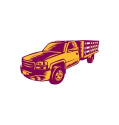 Pick-up truck woodcut vector