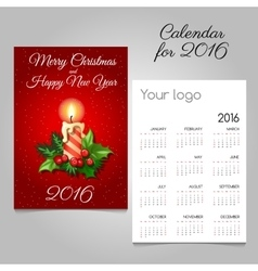 Calendar with christmas candle and holly berry vector