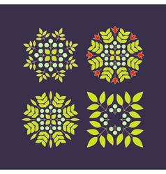 Set Floral Elements Linear Style Line Art vector image