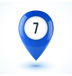 Blue realistic 3D glossy map point symbol vector image