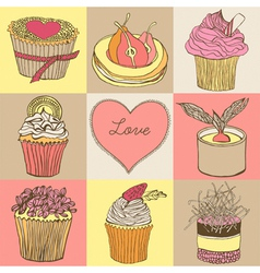 Fancy cupcakes Background vector image
