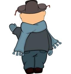 A boy in a winter coat and a cap cartoon vector image vector image