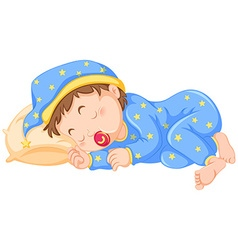 Baby boy sleeping with pacifier on vector image