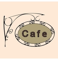 cafe text on vintage street sign vector image
