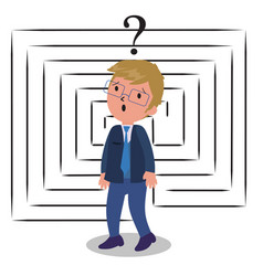 Confused businessman with labyrinth vector