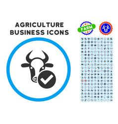 Cow valid rounded icon with set vector