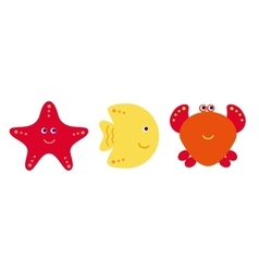 Cute cartoon fish crab and starfish icons vector