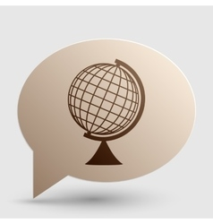 Earth globe sign brown gradient icon on bubble vector