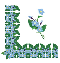 Forget me not floral corner and line frame element vector