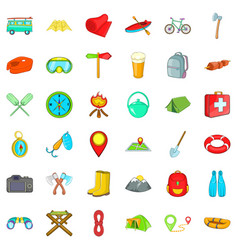 Fun camping icons set cartoon style vector