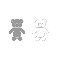 Little bear grey set icon vector