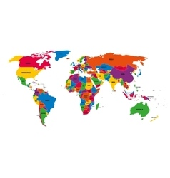 Multi-colored political map of World with vector image vector image