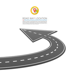 Paved path on the road road location arrow vector