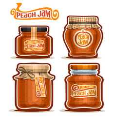 Peach jam in glass jars vector