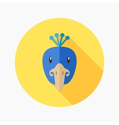 Peacock flat icon Animal head vector image