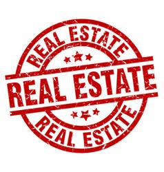 Real estate round red grunge stamp vector