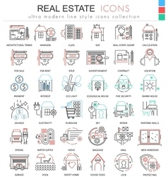 Real estates color line outline icons for vector image vector image