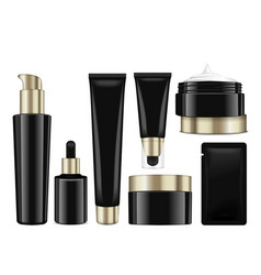 realistic cosmetic black bottles with gold caps vector image vector image