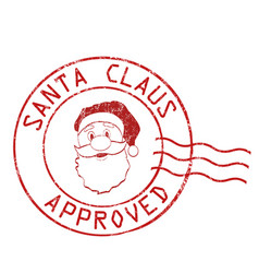 santa claus approved stamp vector image vector image