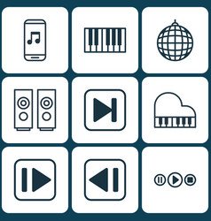 set of 9 audio icons includes song ui audio vector image vector image