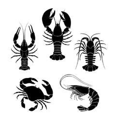 Set of the seafood crustaceans silhouettes vector image