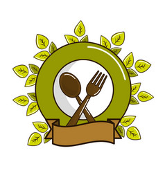 Spoon fork and plate with leaves and ribbon vector