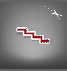 Stair down sign red icon with for vector