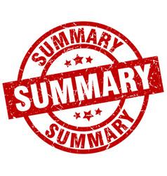 Summary round red grunge stamp vector