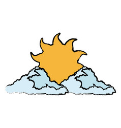 sun and cloud cartoon weather drawn vector image vector image