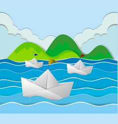 three paper boats floating in the ocean vector image