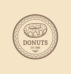 vintage donut logo retro sweet bakery label vector image vector image