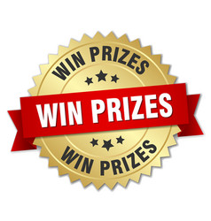 Win prizes 3d gold badge with red ribbon vector