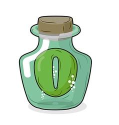 Zero in magical bottle number 0 in bottle for vector