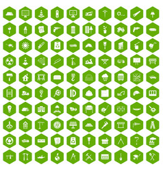 100 construction site icons hexagon green vector