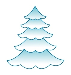 Pine covered in snowy icon vector