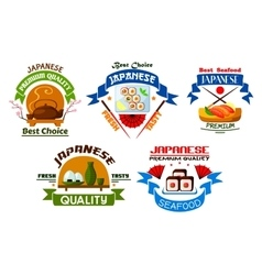 Japanese food restaurant emblems vector image