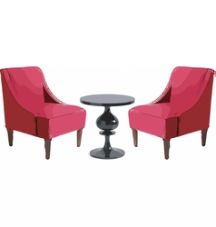 Modern chairs and table furniture set vector