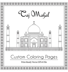 Taj mahal temple coloring book vector