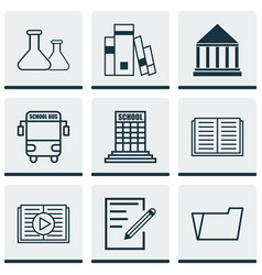 Set of 9 school icons includes chemical library vector