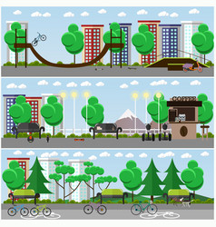 Set of transport posters banners in flat vector