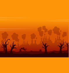 Landscape environment issue on orange backgroud vector