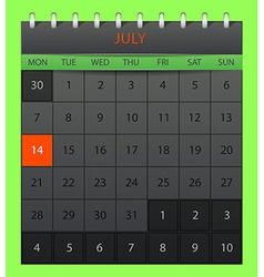 July 2014 vector image