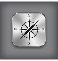 Compass icon - metal app button vector