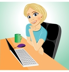Business woman at table with laptop vector