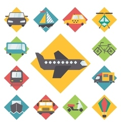 Transportation traveling icons set flat design vector