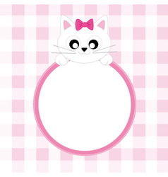 Frame pink cat vector